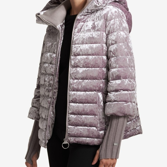 speical offer buy real biggest discount DKNY Sport Crushed Velvet Down Jacket Crazy Cool NWT